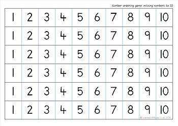 Missing Numbers up to 20 Game