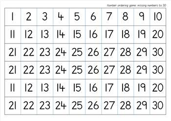 Missing Numbers up to 30 Game