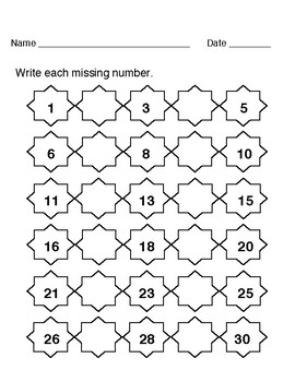 Missing Numbers worksheets 1-100
