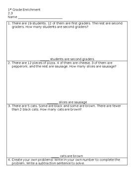 Missing Part Subtraction - Go Math! 2.3 Enrichment