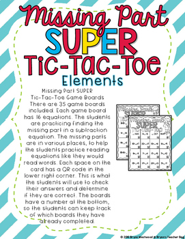 Missing Part Super Tic-Tac-Toe-Subtract Within 20 with Missing Parts & QR Codes