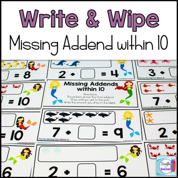 Missing Part Write and Wipe: Find the Missing Addend within 10