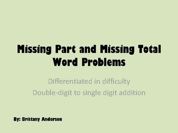 Missing Part and Missing Total Word Problems