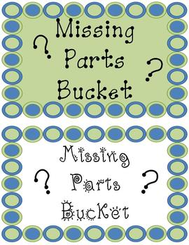 Missing Parts Bucket Signs FREE :)