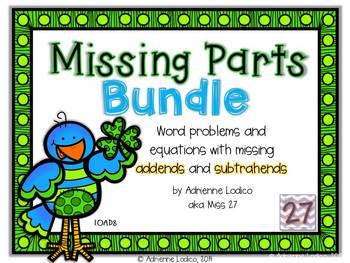 Missing Parts Bundle: Missing addend & subtrahend activities CCSS 1.OA.D.8