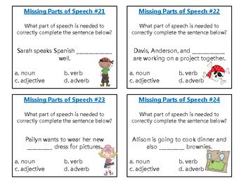 Missing Parts of Speech Task Cards & Scoot