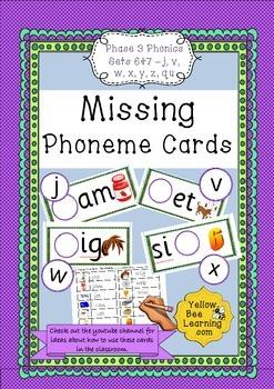 Missing Phoneme Cards - Phase 3 Sets 6-7 (j, v, w, x, y, z, qu)