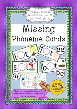 Missing Phoneme Cards - Phase 3 Sets 8-9 (ch, sh, th, ng, ai, ee, igh, oa)