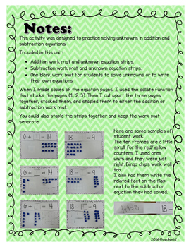 Missing Pieces: Solving addition and subtraction equations with unknowns.