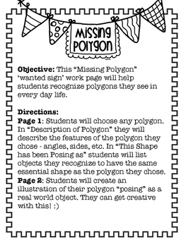 Missing Polygon Wanted Sign; Polygon Practice