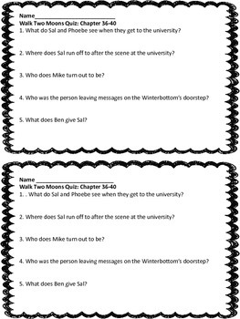 Quiz for Chapters 36-40 Walk Two Moons