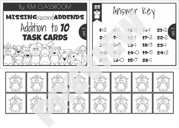 Missing Second Addend 1-10 Task Cards Mastering Math Facts