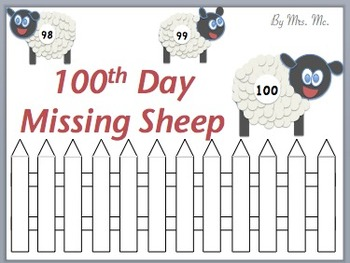 Missing Sheep - 100th Day Hundreds Board Activity