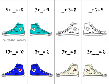 Missing Shoe Complete the Number Sentence Missing Addend