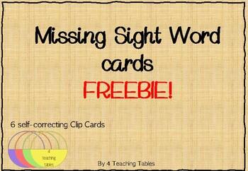 {FREEBIE } Self Checking Missing Sight Word