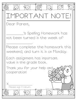 Missing Spelling Homework Communication Forms