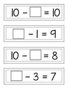 Missing Subtraction Addends (2): Strip Cards