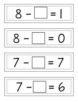 Missing Subtraction Addends: Strip Cards