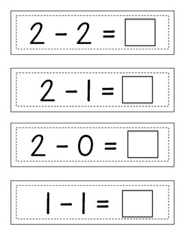Missing Subtraction Sums: Strip Cards