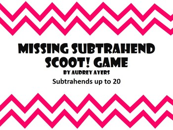 Missing Subtrahend Scoot Game -- Math, Review, Subtraction