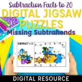 Missing Subtrahend Subtraction Facts to 20 Digital Math Fa