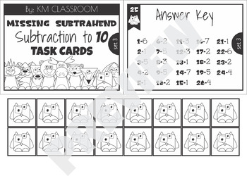 Missing Subtrahend Task Cards Subtraction to 10 SCOOT