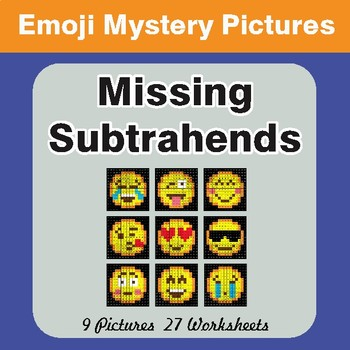 Missing Subtrahends EMOJI Math Mystery Pictures