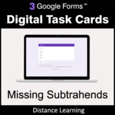 Missing Subtrahends - Google Forms Digital Task Cards | Di
