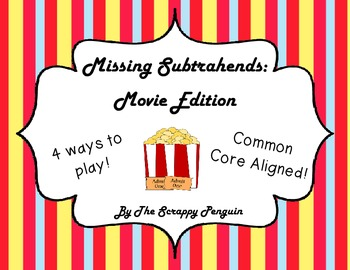 Missing Subtrahends: Movie Popcorn Themed (Common Core Aligned)