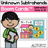 Missing Subtrahends Subtraction Facts to 20 BOOM CARDS