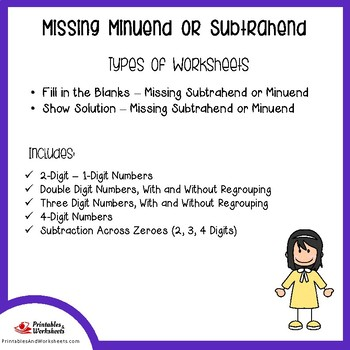 Missing Subtrahends and Minuend, Missing Part Subtraction