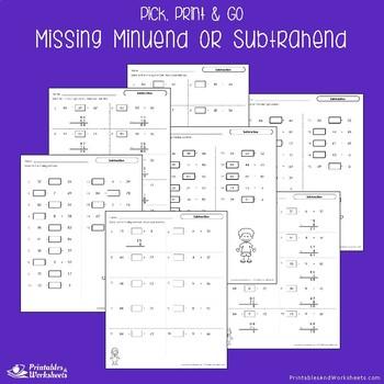 Missing Subtrahends Minuend Worksheets Find the Missing Missing Part Subtraction