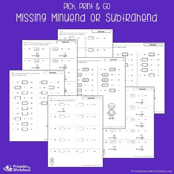 Missing Subtrahend Worksheets, Relating Subtraction And Addition Center Sheets