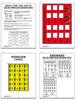 Subtraction Worksheets (Missing Subtrahends to 18 + Full Color Game, Math Mat)