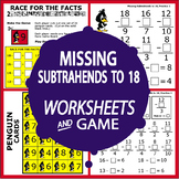 Missing Subtrahends to 18 Subtraction Worksheets + Full Color Subtraction Game