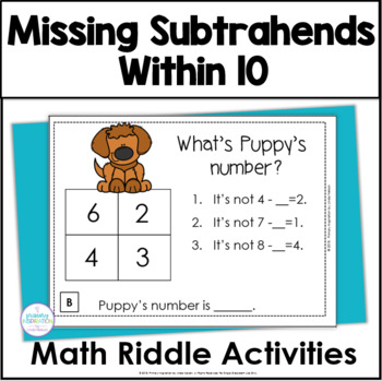 Missing Subtrahends with Sums Through 10 Math Riddle Task Cards