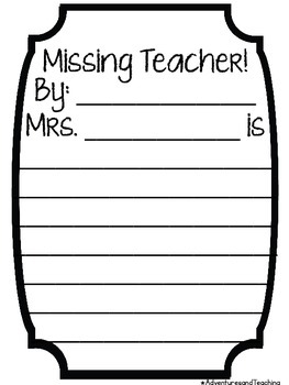 Missing Teacher Writing Activity FREEBIE