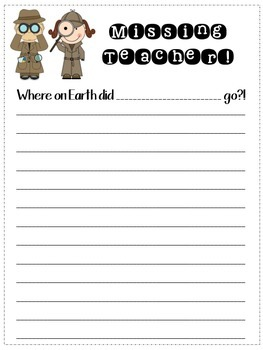 """Missing Teacher"" Writing Template for when you're Absent"