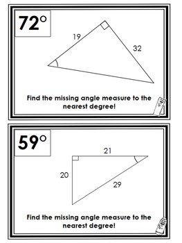 Missing Triangle Angle Measure (Trig Ratios) Scavenger Hunt