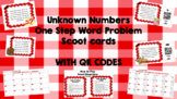 One step word problems with unknown and missing numbers