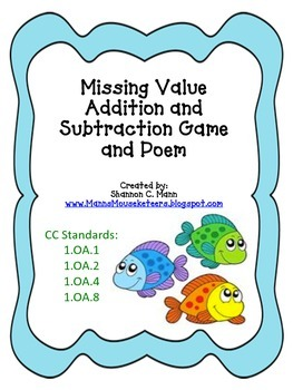 Missing Value Addition and Subtraction Game and Poem