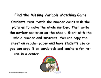 Missing Variable Game: Subtraction