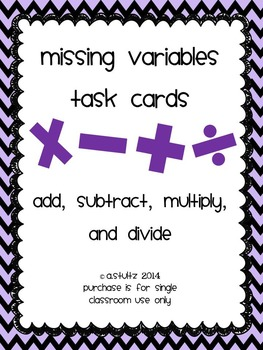 Missing Variable Task Cards