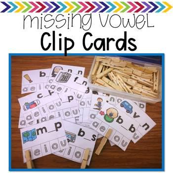 Missing Vowel Clip Cards