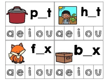 Missing Vowel Clip Cards