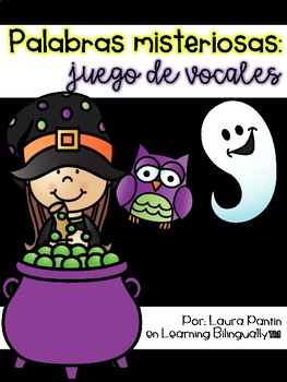 Missing Vowel Literacy Game in Spanish- Halloween Theme