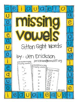 Missing Vowels: Sitton Sight Words