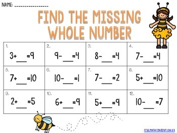 Missing Whole Number CCSS.MATH.CONTENT.1.OA.D.8