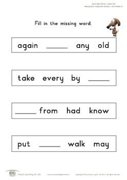 Missing Word Sequential Memory (1st Grade)