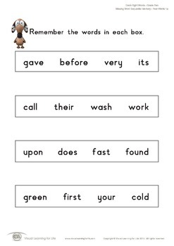 Missing Word Sequential Memory (2nd Grade)